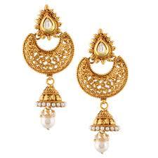 jhumki style earrings kundan south indian style jhumka jhumki pearl earring online