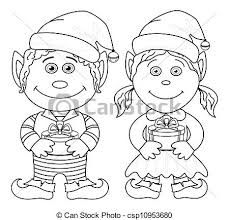 stock illustration christmas elves boy outline