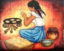 hand made ceramic tile hand painted mural for kitchen by lomeli