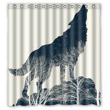 Wolf Curtains Wolf Forest Tree Impression Drawing Custom Design Bathroom Curtain