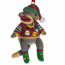 sock monkey ornaments retrofestive ca
