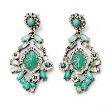 statement earrings sea sparks drops teal green rhinestone statement earrings by
