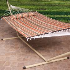 Hammock Bliss Island Bay 13 Ft Sienna Stripe Quilted Hammock With Steel Stand