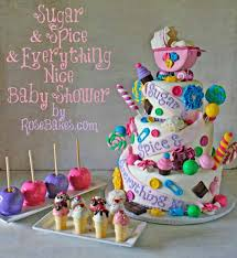 happy everything sign sugar and spice and everything baby shower cake for