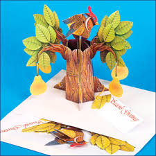 pop up partridge in a pear tree gift card ornament