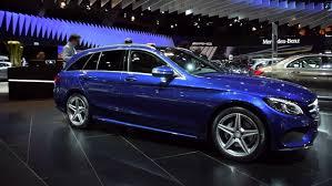 mercedes c class station wagon brussels belgium january 2015 blue mercedes c class