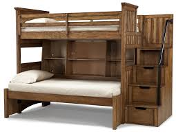 brown wooden bunk bed with storage on the drawers combined with