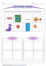 light me up math worksheet answers heavy vs light cut and glue activity science unit heavy vs light