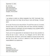 sample resignation letter template 2 sample 2 week resignation
