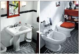 retro black white bathroom floor tile on home interior