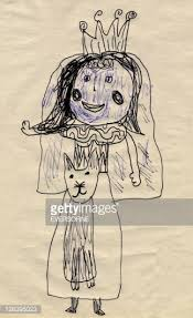 childs drawing of a princess and cat stock illustration getty images