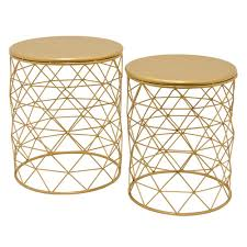 Gold Accent Table Three 20 In Gold Metal Accent Table Set Of 2 64397 The