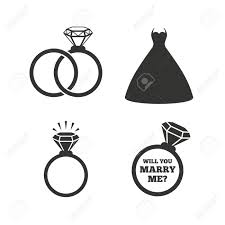 day ring wedding dress icon and groom rings symbol wedding or
