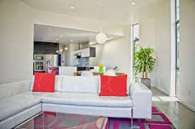 living room cozy small living room with white sofa and red