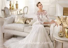Wedding Dress Lace Sleeves Mermaid Illusion Neckline Open Back Three Quarter Sleeve Lace