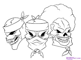 how to draw gangsta step by step skulls pop culture free