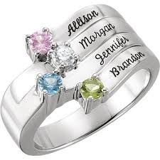 mothers ring with names silver 1 to 4 stones names engravable ring
