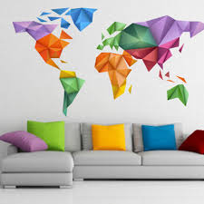 Map Wall Decor by World Map Origami Color Sticker Wall Decor Moonwallstickers