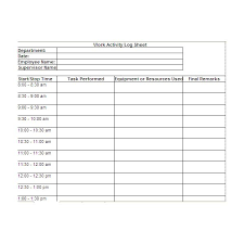 Daily Work Log Book Template free printable work log sheets and modify for your own