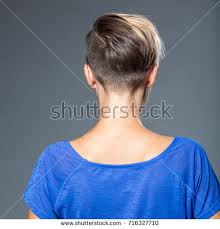 short hairstyles as seen from behind image woman short hairstyle view behind stock photo 716327710