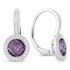 leverback earrings 14k white gold amethyst and diamond halo leverback earrings