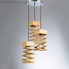Modern Multi Light Pendants Spiral Wood Designer Multi Light Pendant Light With Round Canopy