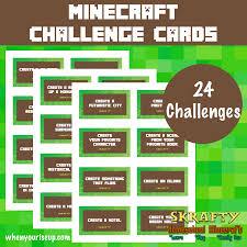 minecraft cards free minecraft challenge cards printable skrafty