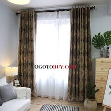 modern chenille plaid jacquard grey blackout curtains for bedroom