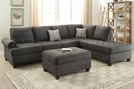 Black Fabric Sectional Sofas 2 Pcs Ash Black Dorris Fabric Sectional Sofa