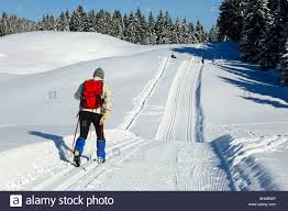skier on a cross country skiing tour in a winter landscape jura