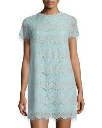 cynthia steffe marley short sleeve scalloped lace shift dress
