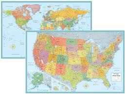 United States Map With Oceans by Rand Mcnally Signature United States Usa And World Wall Map Set
