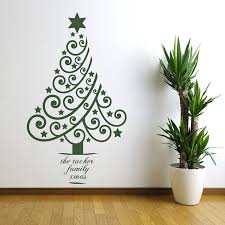 living room mesmerizing christmas tree wall decal on white