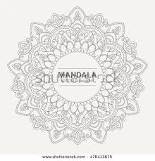 ornamental contour mandala frame stock vector