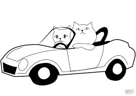 cat drives a car coloring page free printable coloring pages