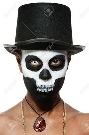 Skeleton Face Painting For Halloween by A Female Voodoo Priestess With Face Paint Stock Photo Masks