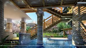 beautiful brown wood modern design swiming pool inside a house f