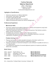 functional resume sample marine machinist