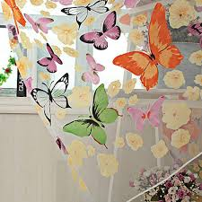 butterfly sheers curtains voile tulle floral window door curtain