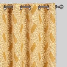 mustard geometric bandhani grommet top curtains set of 2 world