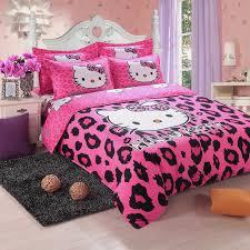 brand logo hello kitty bedding set children cotton bed sheets