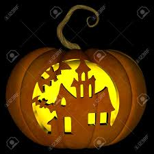 a illustration of a spooky haunted house halloween jack o lantern