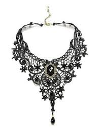 black gem necklace images Gothic black lace design choker necklace with oval black gem design jpg