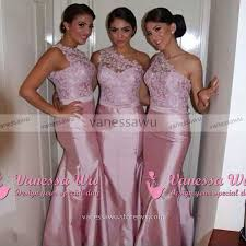 pink bridesmaid dresses trendy one shoulder bridesmaid dress with a ribbon mermaid floral
