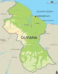 Physical Map Of America by Guyana Map