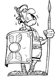terrified roman soldier adventure asterix coloring
