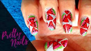 watermelon nail art using highlighters pretty nails youtube