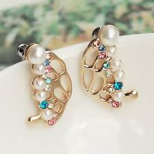 korean earings high quality korean earrings pearl flash drill hollow atmospheric