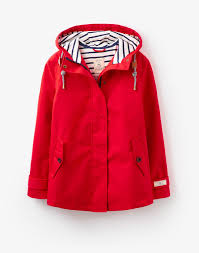 joules coast red waterproof jacket with striped lining fashion