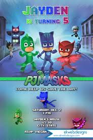 custom invitation pj masks birthday invitation disneys pj masks custom invitation